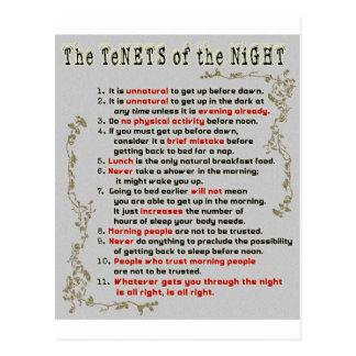 Los principios de la noche tarjetas postales