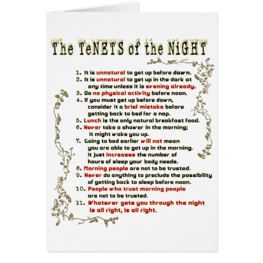 Los principios de la noche tarjeton