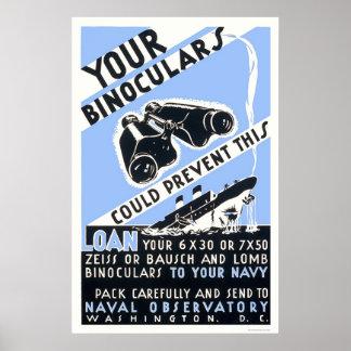 Los prismáticos podían prevenir esto - WPA Poster