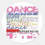Los productos del bailarín de la danza etiquetas