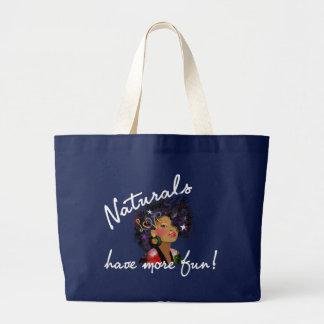 """Los """"productos naturales se divierten bolso más"""" bolsa de tela grande"""
