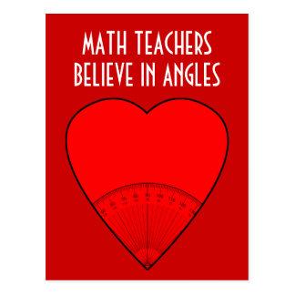 Los profesores de matemáticas creen en ángulos postales