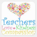 ¡Los profesores hacen a niños un mundo del bueno! Calcomanías Cuadradass Personalizadas