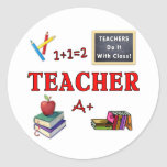 Los profesores lo hacen con la clase pegatina redonda