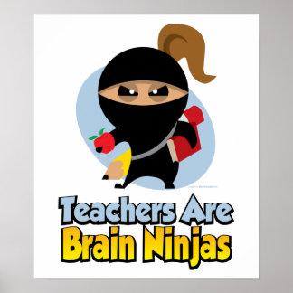 Los profesores son cerebro Ninjas Póster