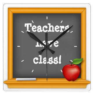 ¡Los profesores tienen clase! Reloj Cuadrado