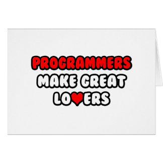 Los programadores hacen a grandes amantes tarjeta de felicitación