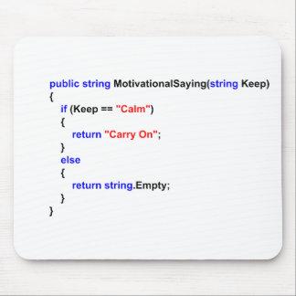 Los programadores mantienen tranquilo y continúan  tapete de ratones