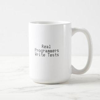 Los programadores reales escriben pruebas taza básica blanca