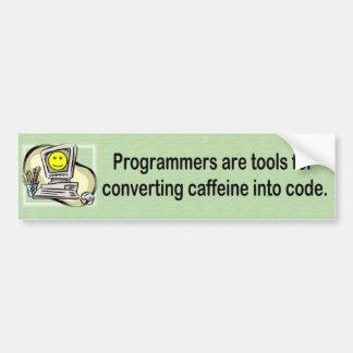 Los programadores son herramientas - parachoque pegatina para auto