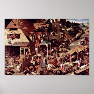Los proverbios holandeses por Bruegel D. Ä. Pieter Poster