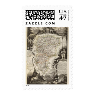 Los pueblos y ciudad mostrados colorean a lo largo timbres postales