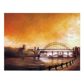 Los puentes, Newcastle sobre la postal de Tyne
