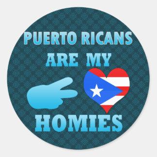 Los puertorriqueños son mi Homies Pegatina Redonda