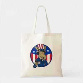 Los pulgares de la mascota del burro de Demócrata Bolsa