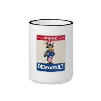 Los pulgares de la mascota del burro de Demócrata  Tazas De Café