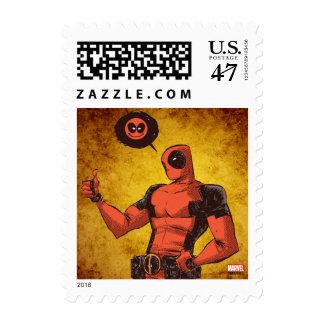 Los pulgares encima de Deadpool con Emote Timbre Postal