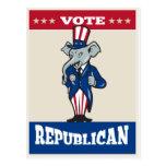 Los pulgares republicanos de la mascota del elefan postales