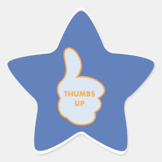 Los pulgares suben a los pegatinas del estudiante pegatina en forma de estrella