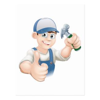 Los pulgares suben el carpintero o al constructor postal