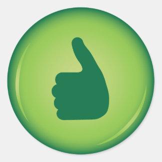 Los pulgares suben la aprobación verde pegatinas redondas