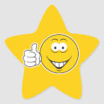 Los pulgares suben la cara sonriente pegatina en forma de estrella