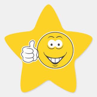 Los pulgares suben la cara sonriente calcomanías forma de estrella