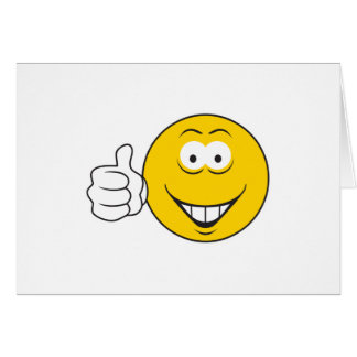Los pulgares suben la cara sonriente tarjeta de felicitación