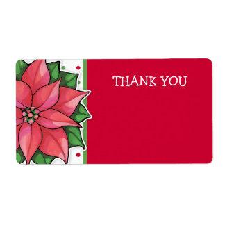 Los puntos de la alegría del Poinsettia le Etiquetas De Envío