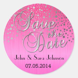 Los puntos de plata y el rosa el   personalizan pegatina redonda