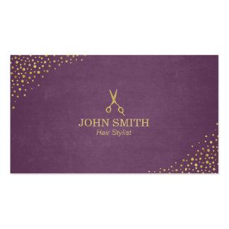 Los puntos púrpuras del oro del estilista y tarjetas de visita
