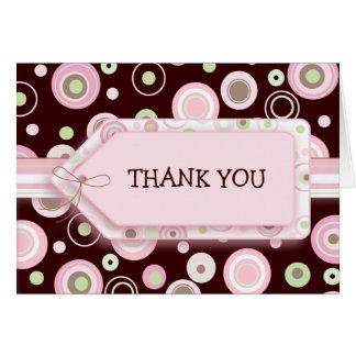 Los puntos rosados felices le agradecen Notecard Felicitacion
