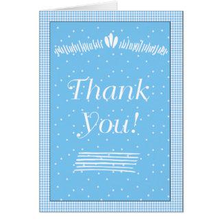 Los puntos y la guinga azules le agradecen tarjeta de felicitación