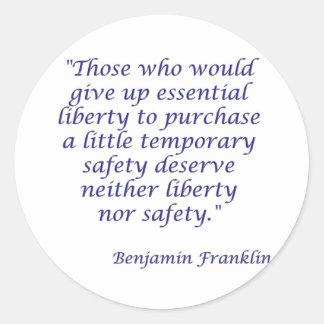 Los que darían para arriba libertad esencial… pegatina redonda