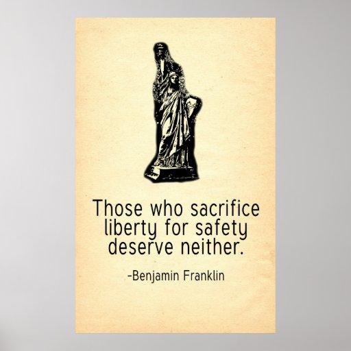 Los que sacrifican la cita de Franklin de la liber Impresiones