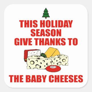 Los quesos del bebé calcomanias cuadradas