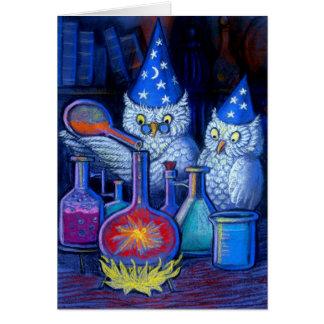 Los químicos del búho tarjeta de felicitación
