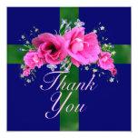 Los ramilletes rosados bonitos le agradecen las invitación 13,3 cm x 13,3cm