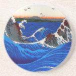 Los Rapids de Hiroshige Navaro multan el vintage j Posavasos Personalizados