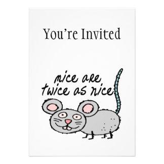 Los ratones son dos veces tan Niza Invitacion Personalizada