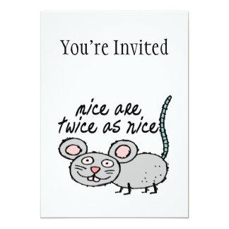 """Los ratones son dos veces tan Niza Invitación 5"""" X 7"""""""