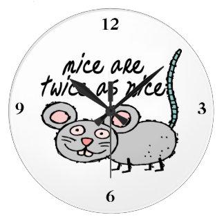 Los ratones son dos veces tan Niza Reloj Redondo Grande