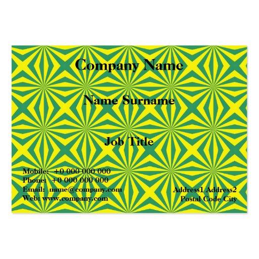 Los rayos de sol en verde y amarillo tejaron la tarjetas de visita grandes