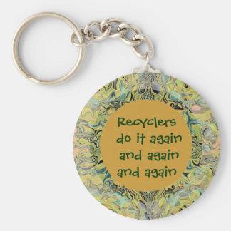 Los recicladores lo hacen otra vez llavero redondo tipo pin