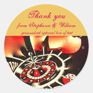 Los recienes casados de Las Vegas le agradecen Pegatina Redonda