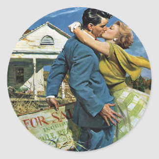 ¡Los recienes casados del vintage compran la Pegatina Redonda