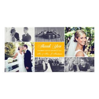 Los recienes casados le agradecen amarillo del tarjetas personales con fotos