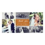 Los recienes casados le agradecen bronce del tarjeta personal con foto