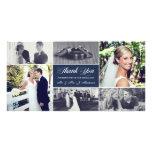 Los recienes casados le agradecen los azules tarjeta fotografica personalizada