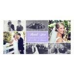 Los recienes casados le agradecen púrpura de la tarjetas fotográficas